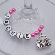 Radio Personalised Wine Glass Charm